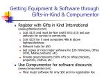 getting equipment software through gifts in kind compumentor
