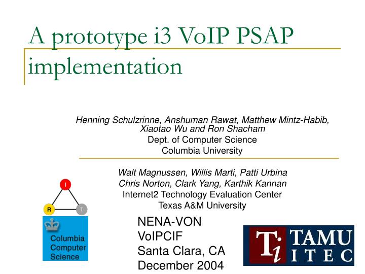 a prototype i3 voip psap implementation n.