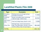 landfilled plastic film 2009