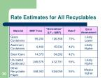 rate estimates for all recyclables