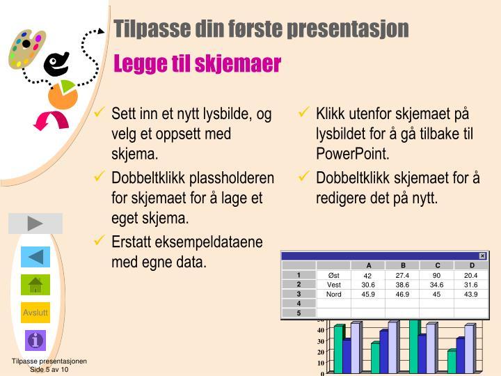 Klikk utenfor skjemaet på lysbildet for å gå tilbake til PowerPoint.