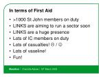 in terms of first aid