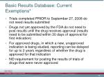 basic results database current exemptions