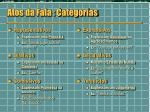 atos da fala categorias