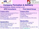 company formation advisory