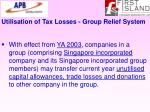 utilisation of tax losses group relief system