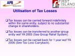 utilisation of tax losses