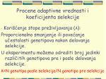 procene adaptivne vrednosti i koeficijenta selekcije33