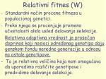 relativni fitnes w