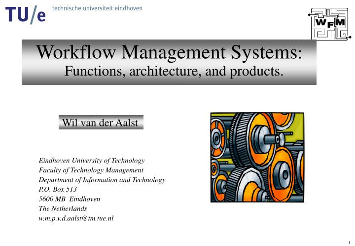 workflow management systems functions architecture and products n.