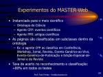 experimentos do master web