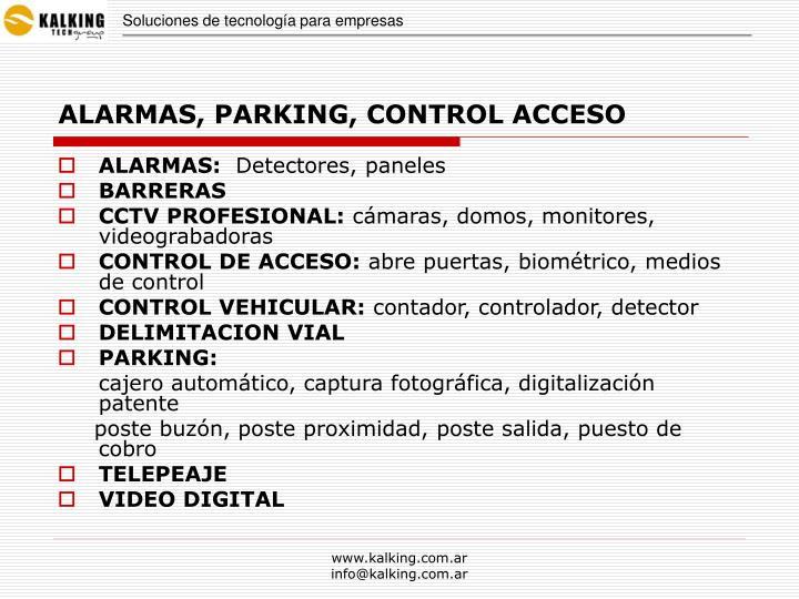 Alarmas parking control acceso