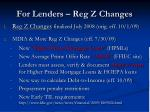 for lenders reg z changes