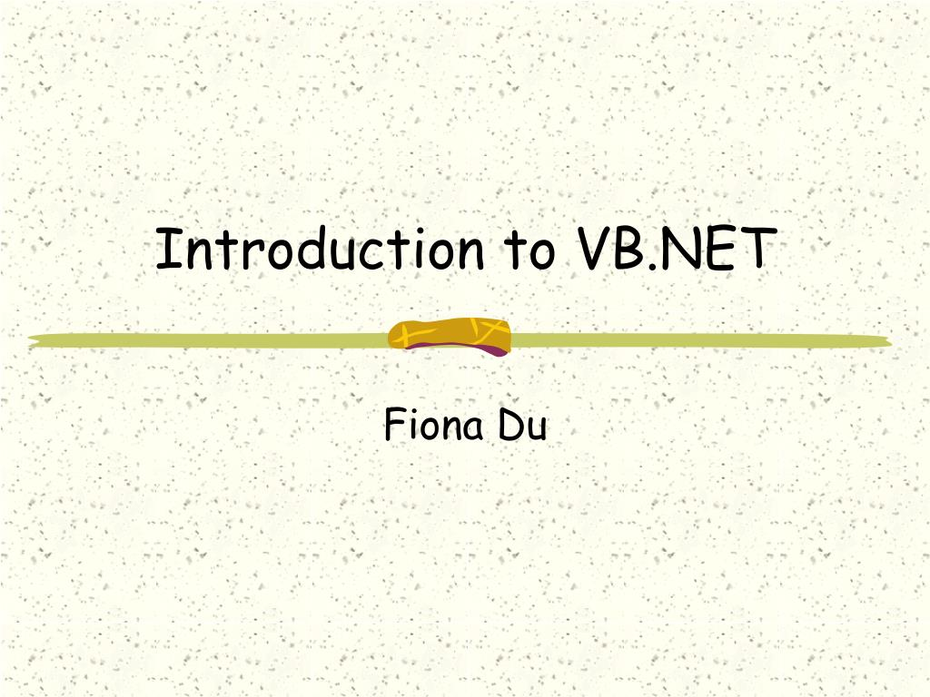 introduction to vb net l.
