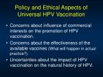policy and ethical aspects of universal hpv vaccination51