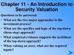 chapter 11 an introduction to security valuation