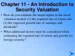 chapter 11 an introduction to security valuation7