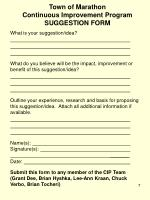 town of marathon continuous improvement program suggestion form