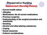 preoperative nursing assessment nursing history