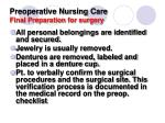 preoperative nursing care final preparation for surgery