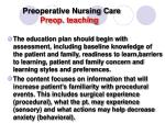 preoperative nursing care preop teaching
