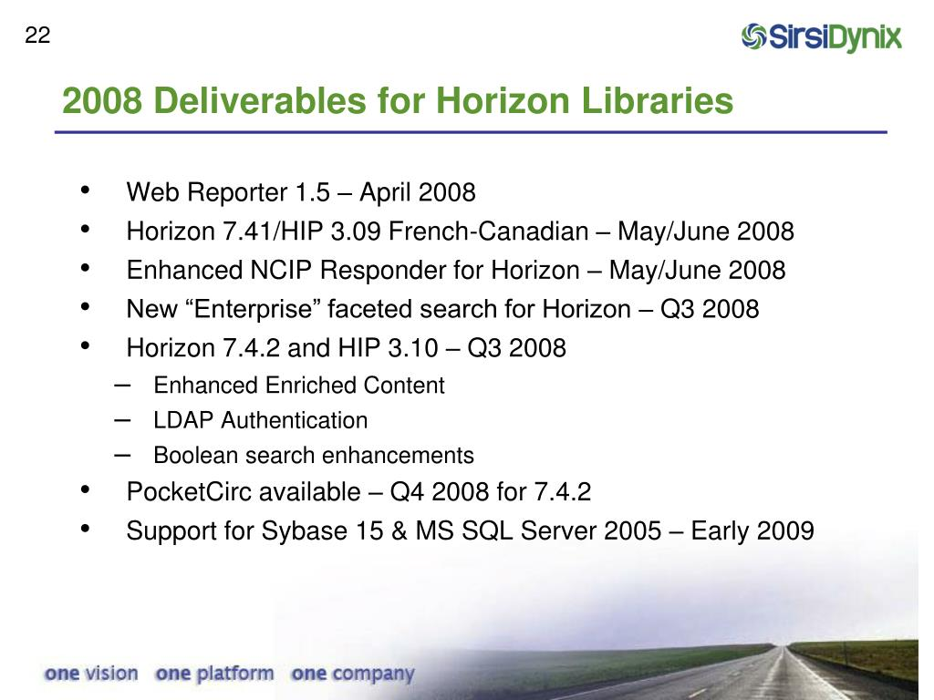 2008 Deliverables for Horizon Libraries