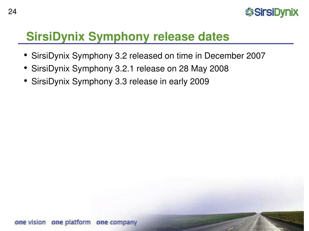 SirsiDynix Symphony release dates
