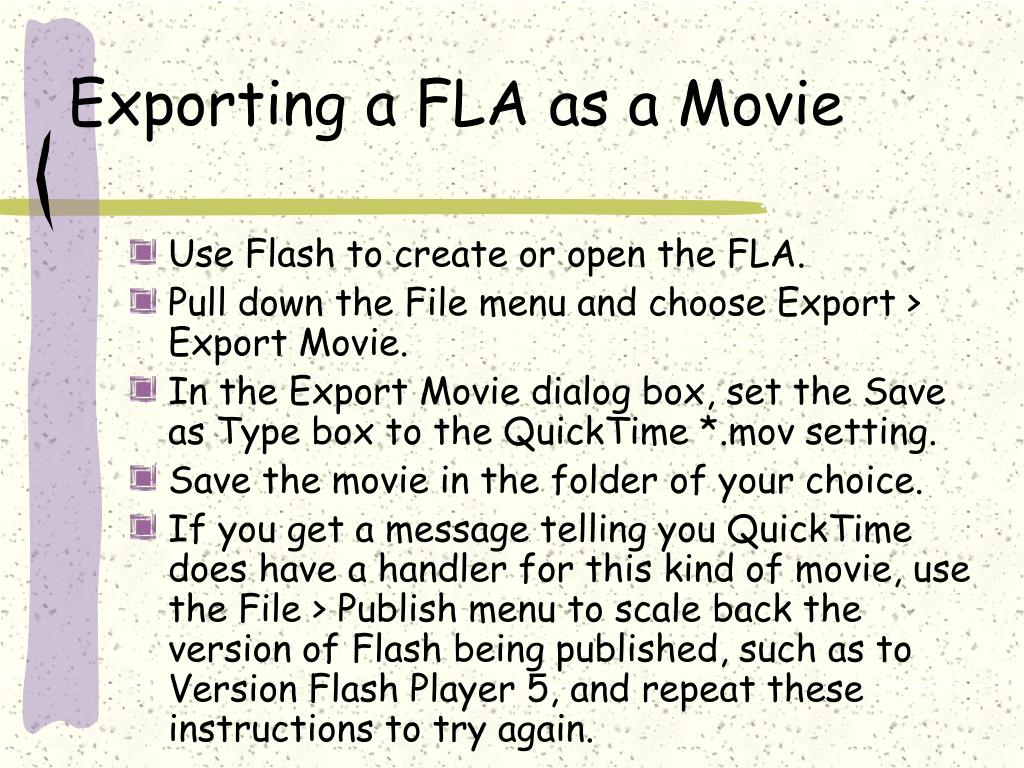 Exporting a FLA as a Movie
