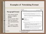 examples of notetaking format