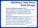 residency task force work groups