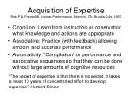 acquisition of expertise fitts p posner mi human performance belmont ca brooks cole 1967