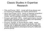 classic studies in expertise research