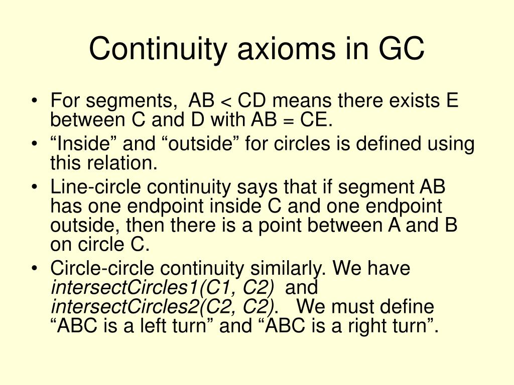 Continuity axioms in GC