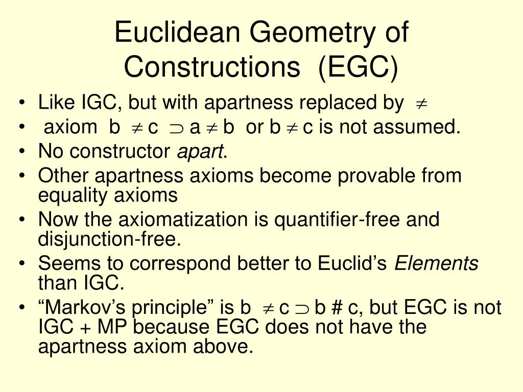Euclidean Geometry of Constructions  (EGC)