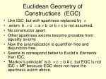 euclidean geometry of constructions egc