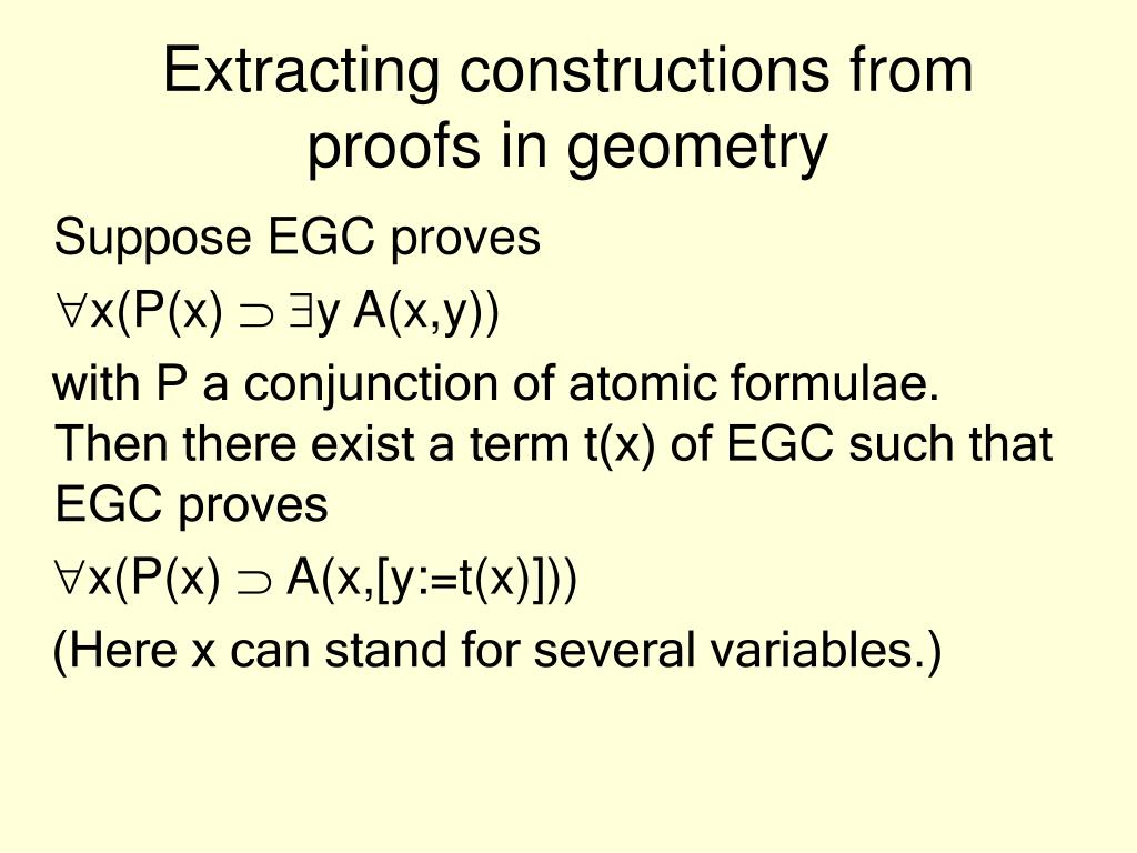 Extracting constructions from proofs in geometry