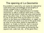 the opening of la geometrie