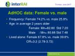 adhoc data female vs male