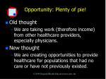 opportunity plenty of pie