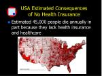 usa estimated consequences of no health insurance