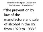 the oxford english dictionary definition of prohibition