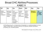 broad chc abilities processes kabc ii