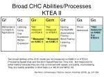 broad chc abilities processes ktea ii