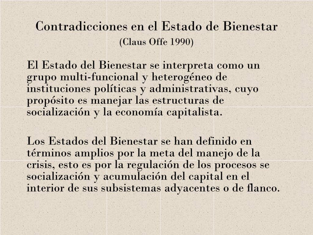 contradicciones en el estado de bienestar claus offe 1990 l.
