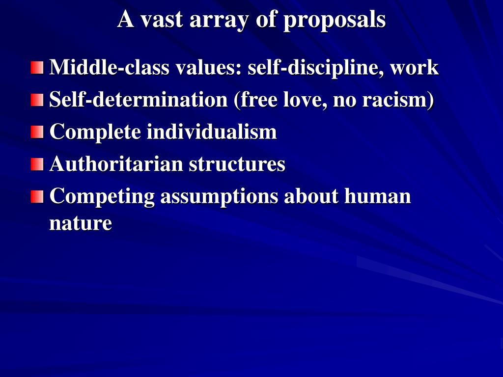 A vast array of proposals