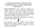 le motivazioni dell iniziativa di confservizi e r e i presupposti del progetto 4