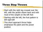 three step throws