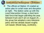 anti social behaviour toronto