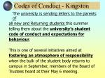 codes of conduct kingston