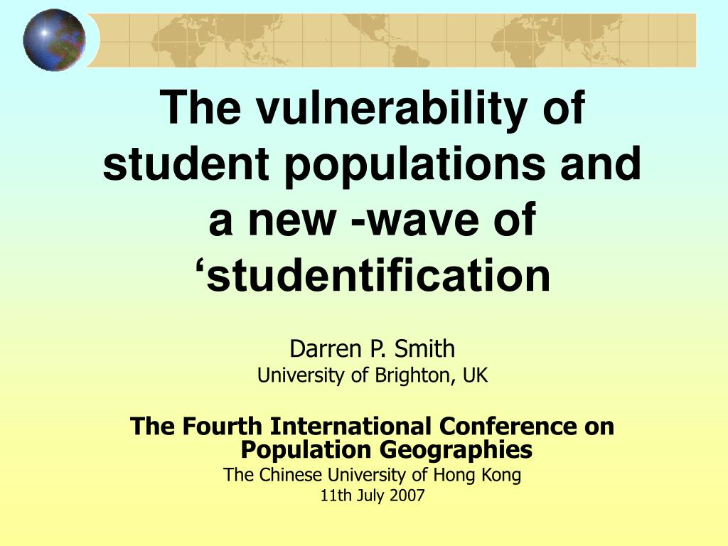 the vulnerability of student populations and a new wave of studentification l.